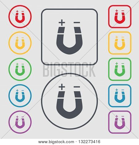 Horseshoe Magnet, Magnetism, Magnetize, Attraction Icon Sign. Symbol On The Round And Square Buttons