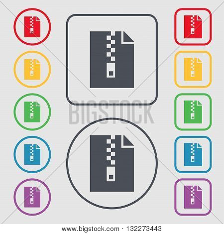 Computer Zip Folder, Archive Icon Sign. Symbol On The Round And Square Buttons With Frame. Vector