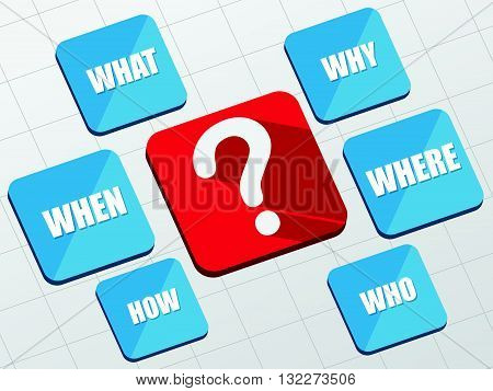 question sign and question words - white text and symbol in red and blue flat design blocks, business concept, vector