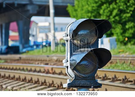 Semaphore regulating railway traffic on the railroad