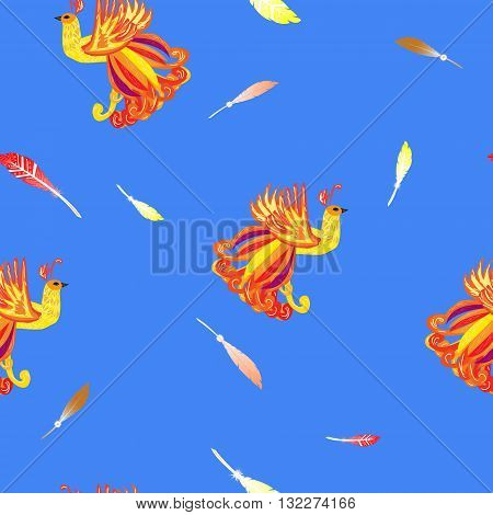 Decorative card with the Firebird feathers seamless background with heat-birds on a blue background