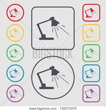 Reading-lamp Icon Sign. Symbol On The Round And Square Buttons With Frame. Vector