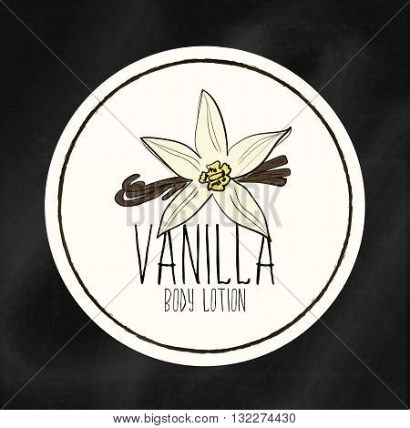 A set of labels with frames for beauty and health. Vanilla moisturizing lotion for body and hands. Vector Tags