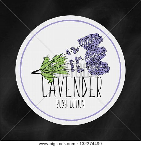 A set of labels with frames for beauty and health. Lavender moisturizing lotion for body and hands. Vector