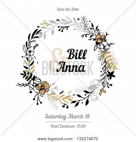 Vector invitation with gold floral elements and calligraphic letters. Wedding card remember the date. Handmade.