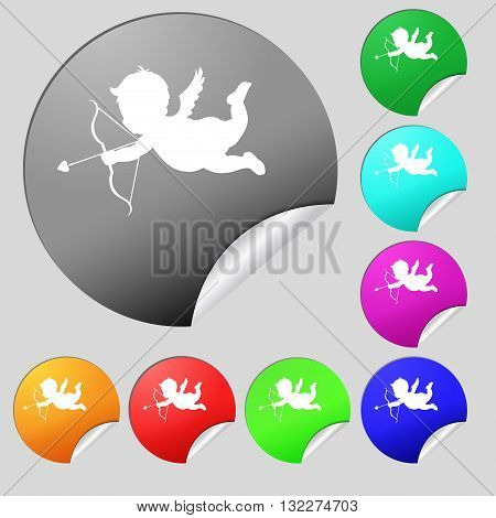 Cupid Icon Sign. Set Of Eight Multi Colored Round Buttons, Stickers. Vector