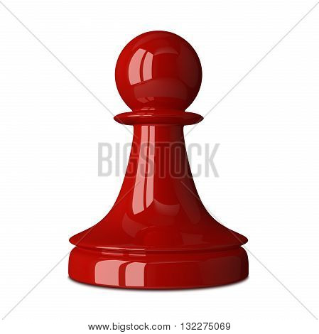 Red glossy shiny chess pawn isolated on white background with small soft shadow. 3D illustration