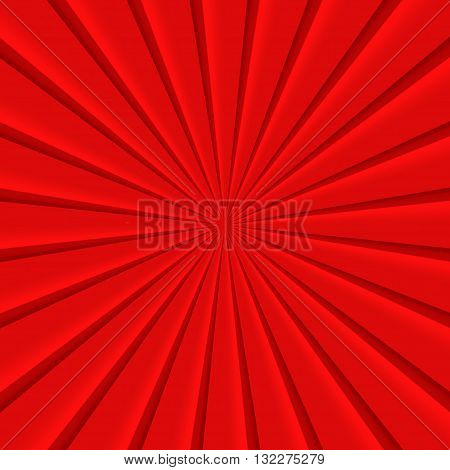 Red abstract rays circle vector squared background