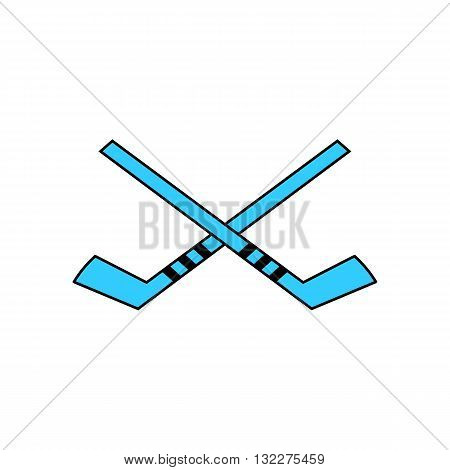 Two blue hockey stick vector illustration isolated on white background.