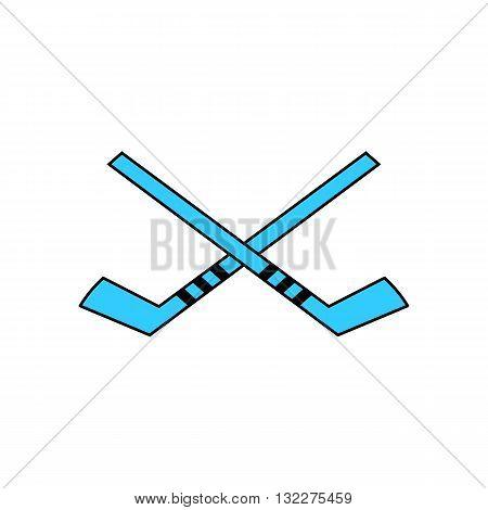 Two blue hockey stick vector illustration isolated on white background.