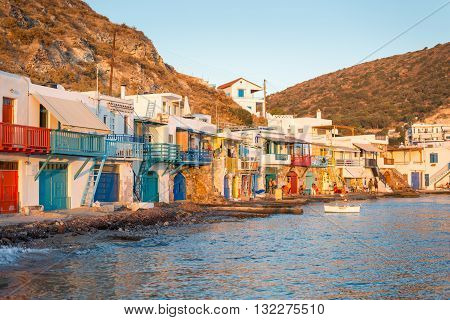 MELOS GREECE - SEPTEMBER 2 2012: Klima a traditional fishing village with 2-storey houses called Syrmata built in the concavities of the rocks. The ground floor housed the fishermen's boats.