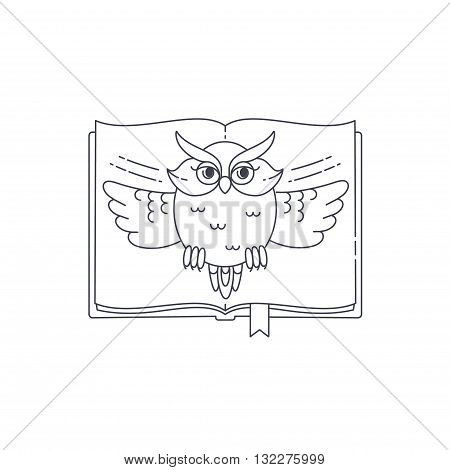 Wise owl opens the book. Vector linear illustration Graduation symbol.