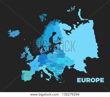 Europe modern dark detailed map. All european countries with names. Vector template of beautiful flat map design