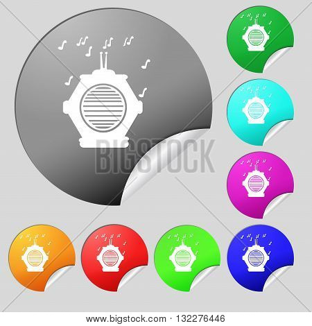Old Analog Radio Icon Sign. Set Of Eight Multi Colored Round Buttons, Stickers. Vector