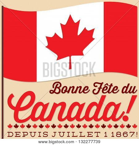 Flag Canada Day card in vector format. Translation: Happy Canada Day!