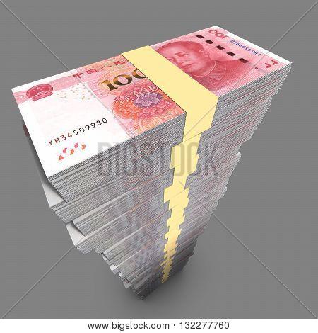 Huge single pile of Chinese 100 RMB bills in dark environment 3D illustration