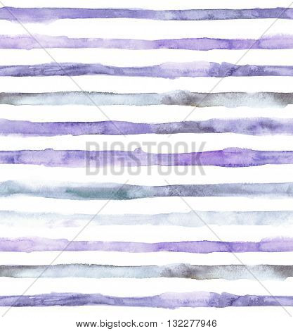 Watercolor striped seamless pattern. Hand drawn watercolor washed stripes design in faded blue and purple colors.
