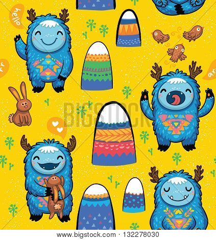 Seamless vector pattern with cute monsters, mountains, rabbits and birds. Awesome childish background. Lovely seamless pattern for children designs on yellow background