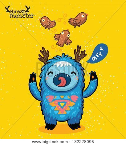 Vector furry blue monster with birds and text Arrr in cartoon style. Post card design. Fun cute cartoon monster for kids design. Awesome childish print