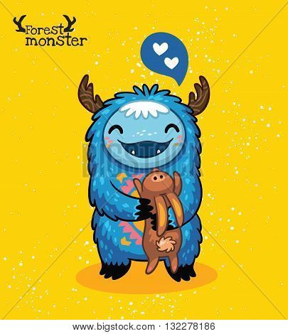 Vector furry blue monster with hare and love in cartoon style. Post card design. Fun cute cartoon monster for kids design. Awesome childish print