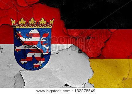 Flags Of Hesse And Germany Painted On Cracked Wall