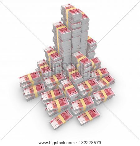 Huge pile of chinese rmb isolated on white 3D illustration