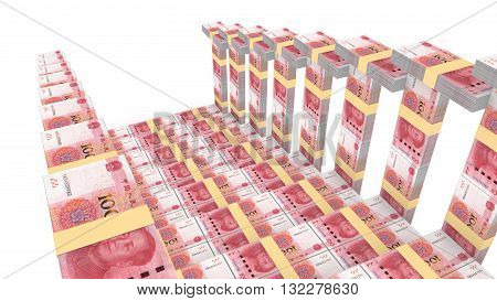 Bridge downwards view with handrail made of Chinese RMB 3D illustration