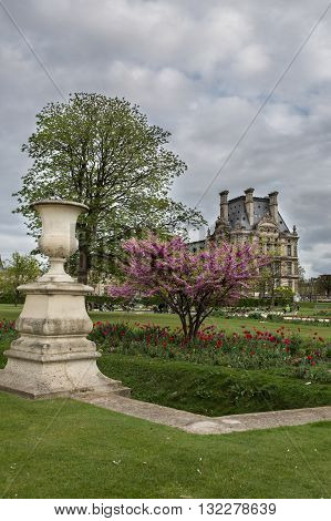 View to Louvre palace from the Tuileries Garden