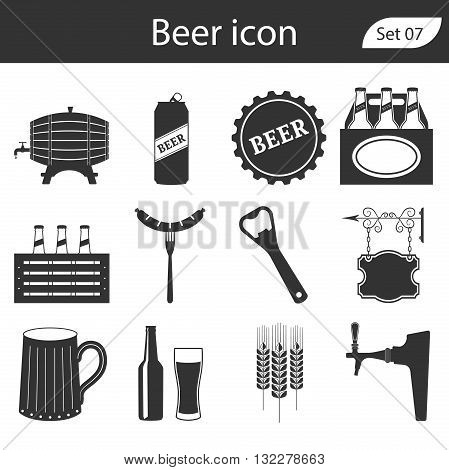 Beer vector icons set - bottle, glass, pint. Vector Illustration.