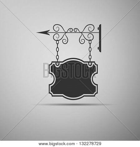 Blank pub sign icon on gray background. Vector Illustration.
