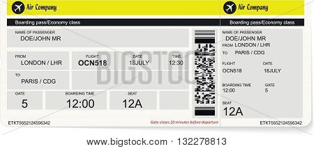 Vector pattern of a boarding pass or air ticket. Concept of travel, journey or business trip