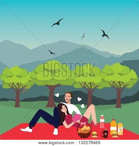 couple picnic man woman in park outdoor dating bring food in basket vector