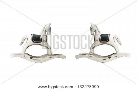 classic wooden toy rocking horse isolated on white background