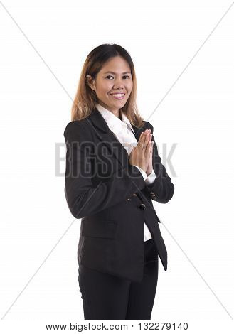 Thai woman business with welcome expression sawasdee isolated on white background