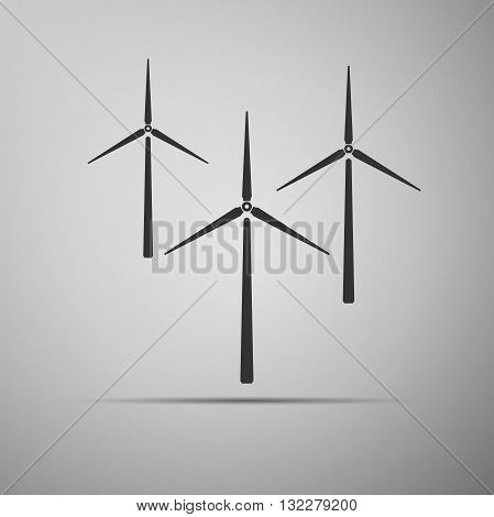 Wind generator icon on gray background. Vector illustration