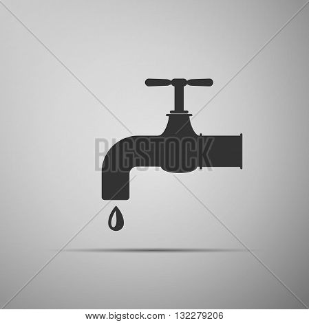 Water tap icon on gray background. Vector illustration