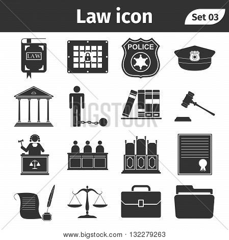 Simple set of Law and Justice related vector icons set. Vector Illustration.