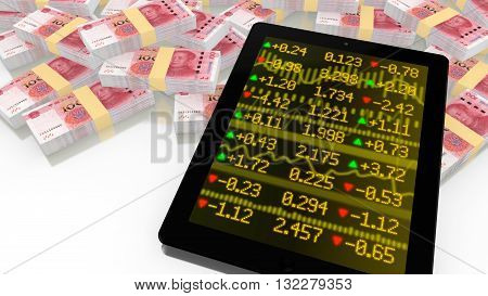 Tablet leaning on a pile of chinese RMB with a stock ticker screen online trading 3D illustration