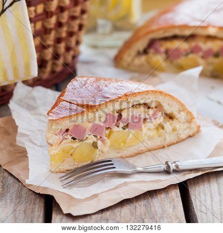 A Piece Of Potato, Ham, Sour Cream And Cheese Pie