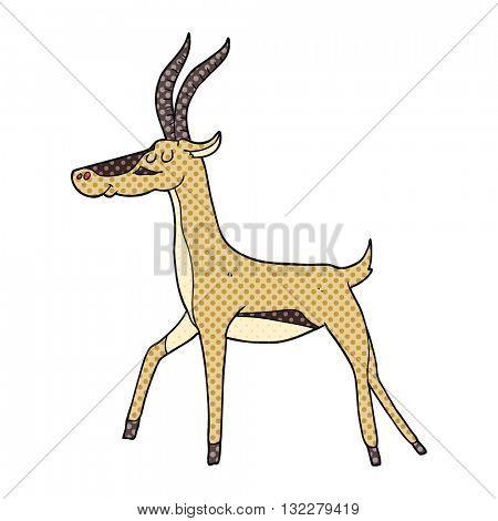 freehand drawn cartoon gazelle