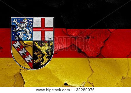 Flags Of Saarland And Germany Painted On Cracked Wall