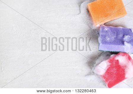 Household, clean. Sponge with foam