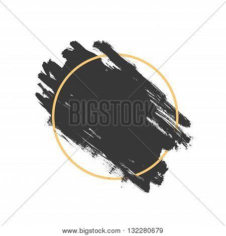 Vector splash in a frame, hand drawn painted diagonal banner inside yellow circle, modern grunge brushed poster