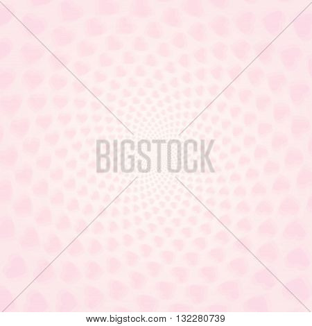 Twisted hearts with tunnel effect. Vector light pink hearts wallpaper. Pink heart tunnel wallpaper.