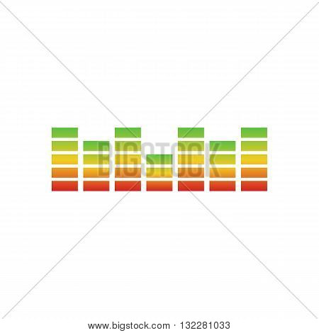 Rainbow digital equalizers or colorful music bars vector illustration isolated on white background.