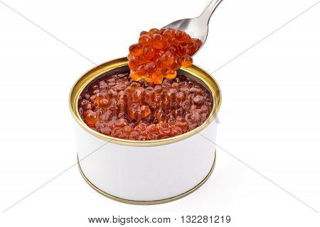 Red caviar in opened tin can isolated on a white background. Gourmet canned food close up with copyspace