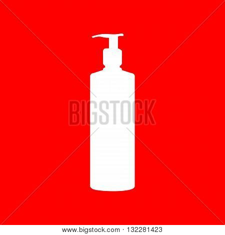 Gel, Foam Or Liquid Soap. Dispenser Pump Plastic Bottle silhouette. White icon on red background.