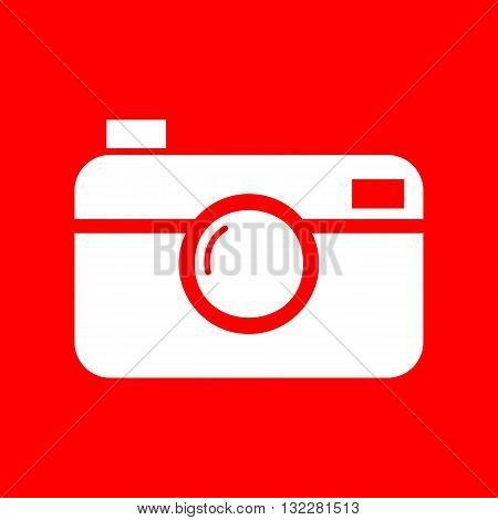Digital photo camera sign. White icon on red background.