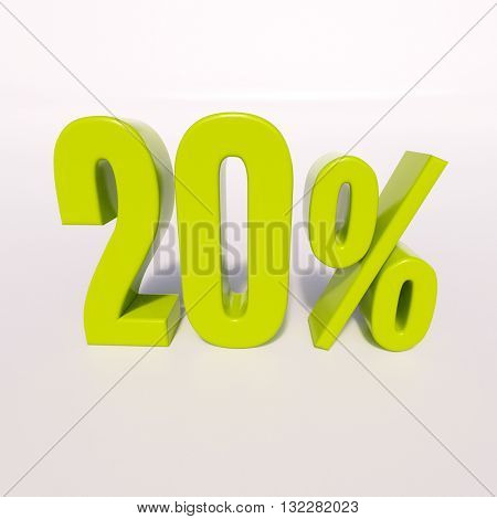3d render: green 20 percent, percentage discount sign on white, 20%