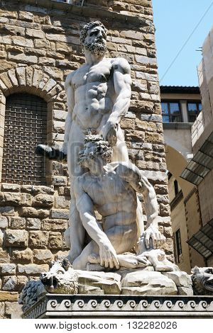 FLORENCE, ITALY - JUNE 05: Hercules and Cacus statue in Piazza della Signoria in Florence, Italy, on June 05, 2015